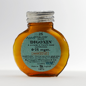 Bottle of digoxin