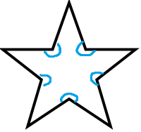 five pointed star with concave sections indicated