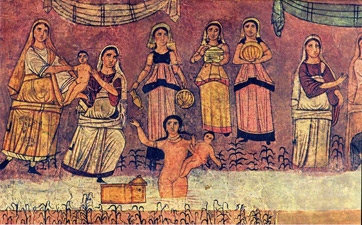 A 3rd century fresco from the Dura Europos synagogue, showing the infant Moses being rescued.