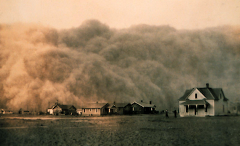 A dust storm in Texas, during the Dust Bowl