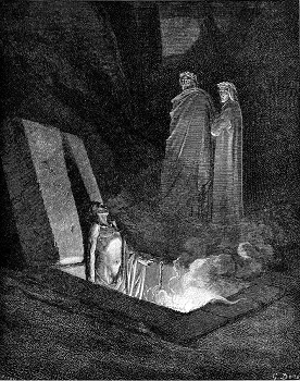 An Epicurean in his tomb talking to Dante