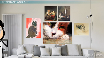 Paintings of cats on a wall