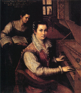 A servant holds sheet music for an Elizabethan noblewoman (painting by Lavinia Fontana)