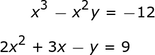 A system of two equations.