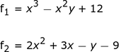 The equations written in f = 0 format.