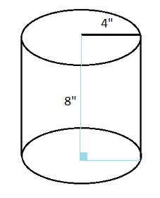 Cylinder With Radius 4 Inches And Height 8 Inches