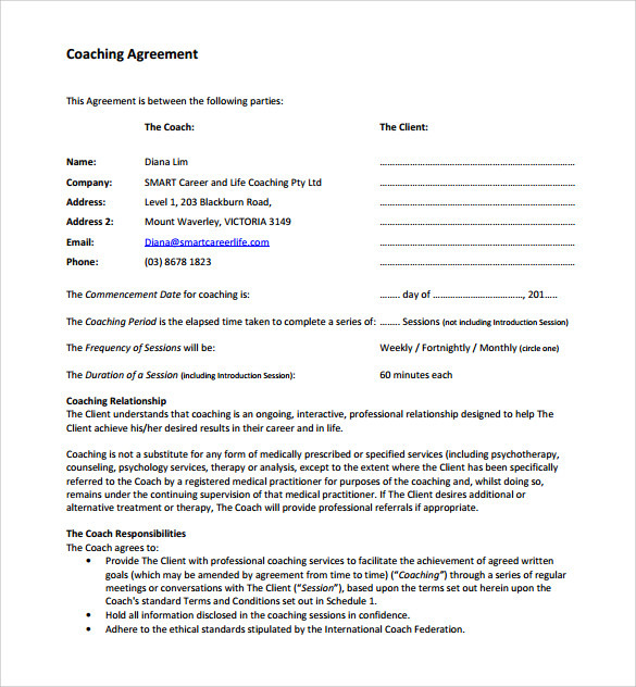 Coaching agreements development templates study template for coaching agreement wajeb