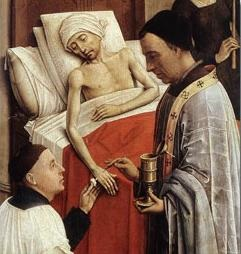 A sick person receives Extreme Unction
