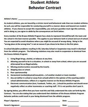 Athlete Behavior Contract Template