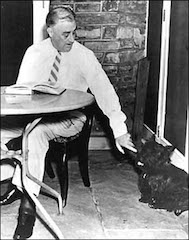President Roosevelt and his dog, Fala