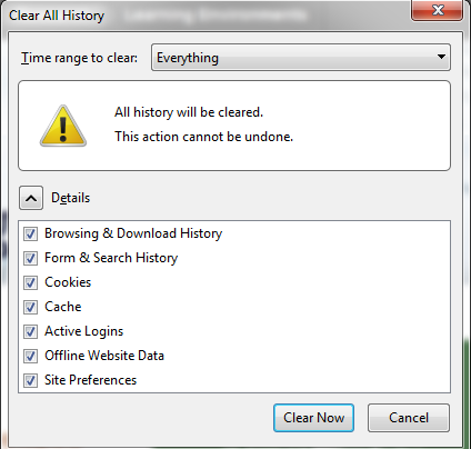 Mozilla Firefox Clear Everything - web history