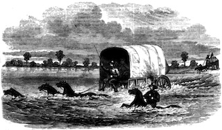 wagon fording a river