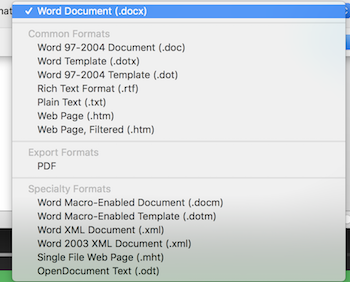 File Formats in Word