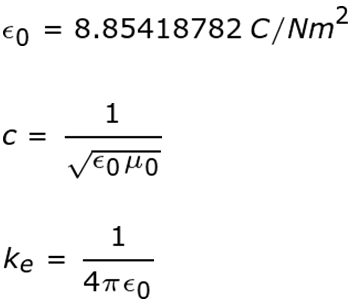 equations with permittivity of free space