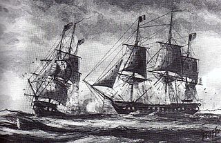 French and American ships fighting
