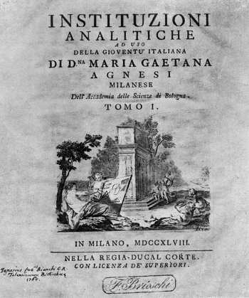 Front Cover of a book on mathematics written by Maria Agnesi