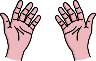 Simple clip-art image of the palm of hands.
