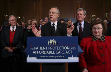 Harry Reid delivers a speech on healthcare