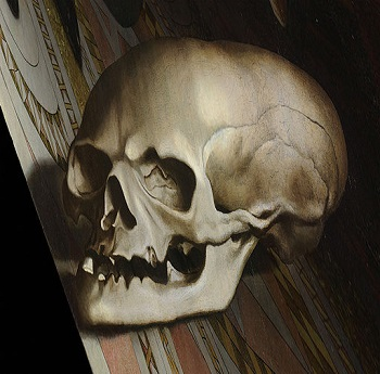 Hand Holbein Detail of Skull from The Ambassadors