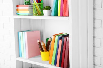Bookshelves keep texts accessible and tidy in your homeschool room.