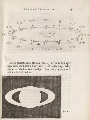 Description of the rings of Saturn in a book published by Huygens (1629-1695)