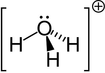 Hydrogen chloride vs hydrochloric acid study diagram 3 hydronium ion the dotted bar just represents the bond going back into the screen it is a way to represent a 3 d molecule ccuart Images