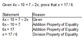 Algebraic proof worksheet lesson 2 5