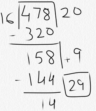 what is 478 divided by 16 using partial quotients? | study