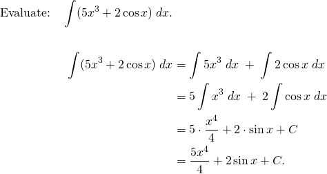 Integral of 5x^3 + 2 cos(x), worked out
