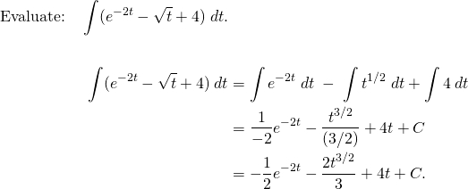 Integral of e^(-2t) - sqrt(t) + 4, worked out
