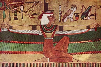 Isis with outspread wings painted on tomb of Seti I Valley of the Kings