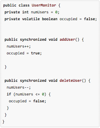 Example Java code showing volatile and synchronized keywords