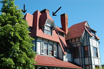 Complex roof with two jerkinhead examples