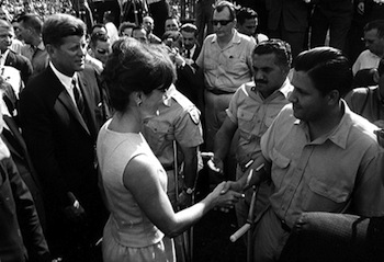 John F Kennedy Greeting Cuban Expatriates Of The Bay Pigs Invasion