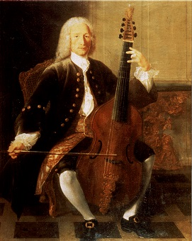 Painting of Jean Baptiste Forqueray with viola da gamba