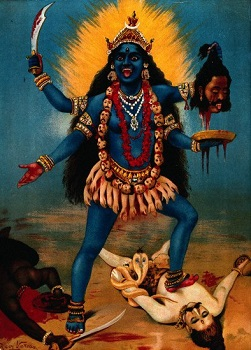 Kali standing on the chest of Shiva