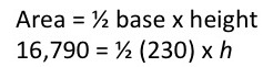 Area formula with numbers plugged in