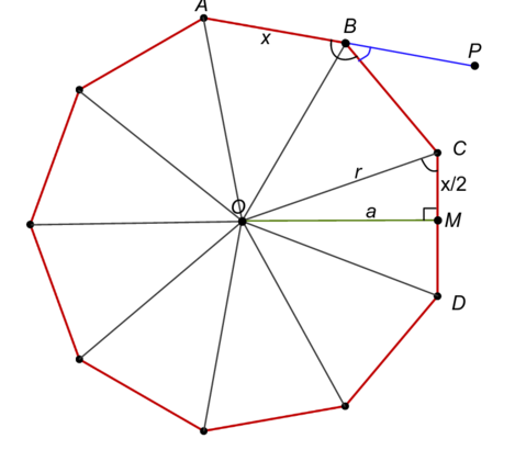 Enneagon with sides and angles labeled