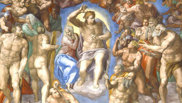 The Last Judgment by Michelangelo, central figure detail