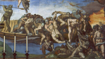 The Last Judgment by Michelangelo, lower right detail