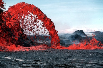 Lava Pouring Out of Volcano