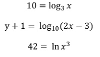 Several logarithmic equations