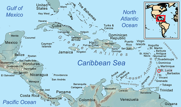 Map of islands in the Caribbean Sea
