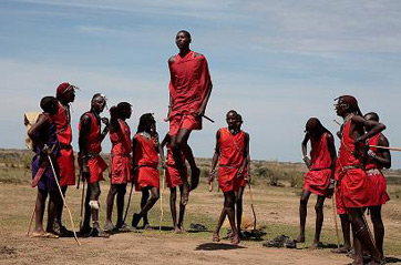 A group of Masai warriors