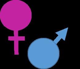Graphic With Pink Venus Symbol And Blue Mars Symbol