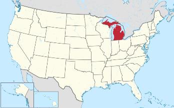 map showing michigan within u s