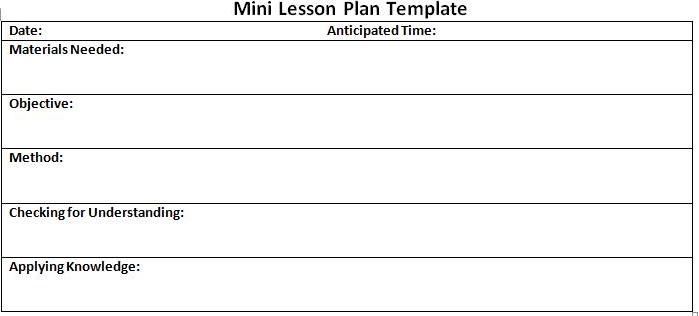 Mini lesson plan format template for Outline of a lesson plan template