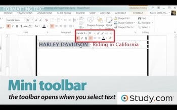 powerpoint mini toolbar
