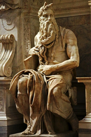 Moses by Michelangelo. Note that he is depicted with horns.