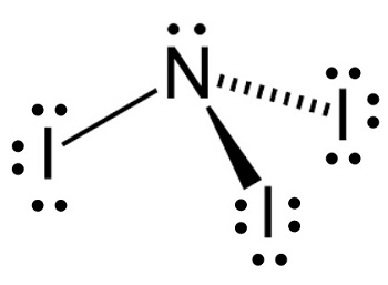 What is the lewis structure of ni3 study the nitrogen atom contributes 5 valence electrons each iodine atom contributes 7 valence electrons dots represent un shared electrons and each line is ccuart Image collections